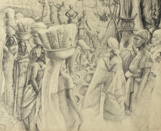 JOHN BIGGERS (1924 - 2001) Untitled (Ghana Harvest Festival Study).