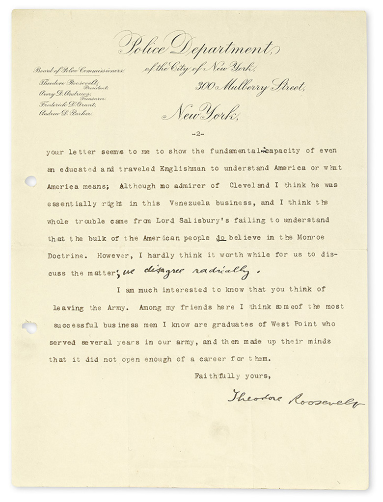 ROOSEVELT, THEODORE. Two Typed Letters Signed, to Herbert de Haga Haig,