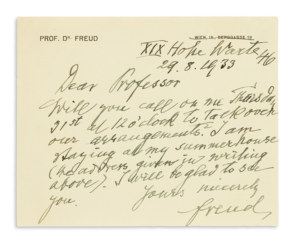 (SCIENTISTS)-FREUD-SIGMUND-Autograph-Letter-Signed-Freud-to-
