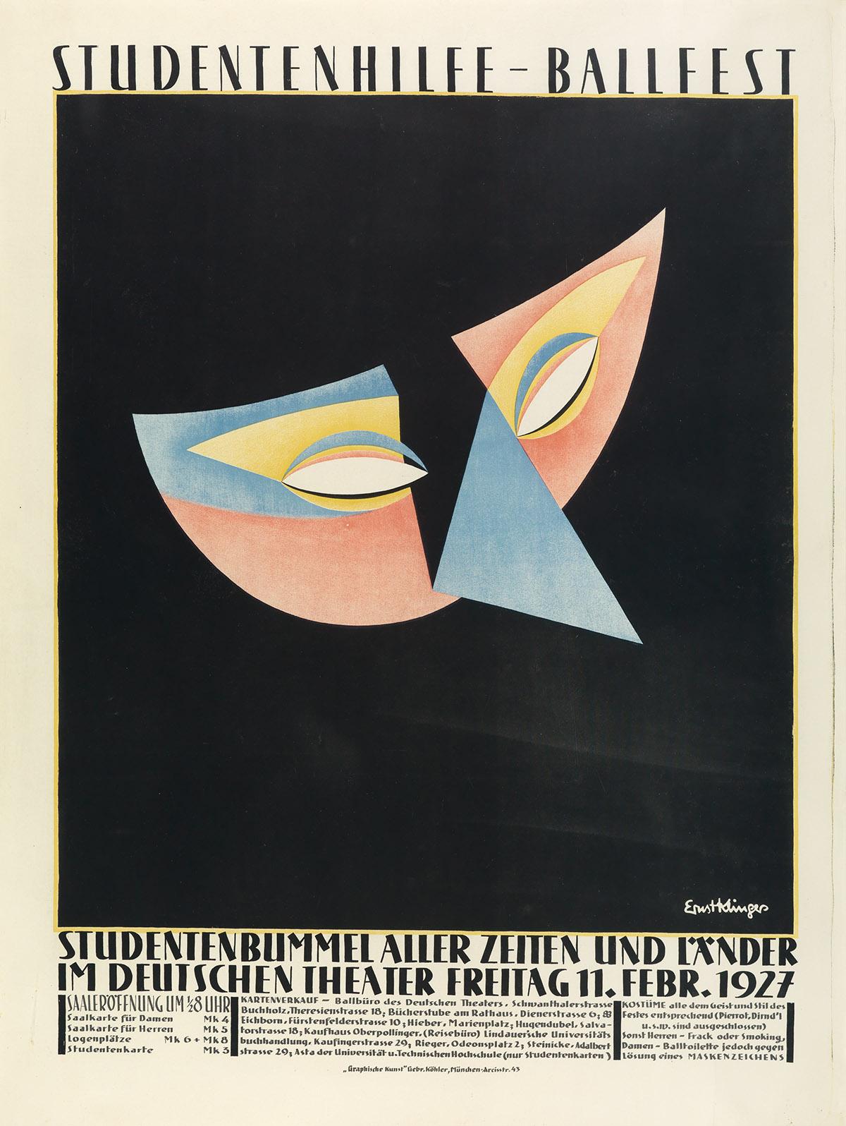ERNST KLINGER (1900-1962). STUDENTENHILFE - BALLFEST. 1927. 49x37 inches, 124x94 cm. Gebr. Köhler, Munich.