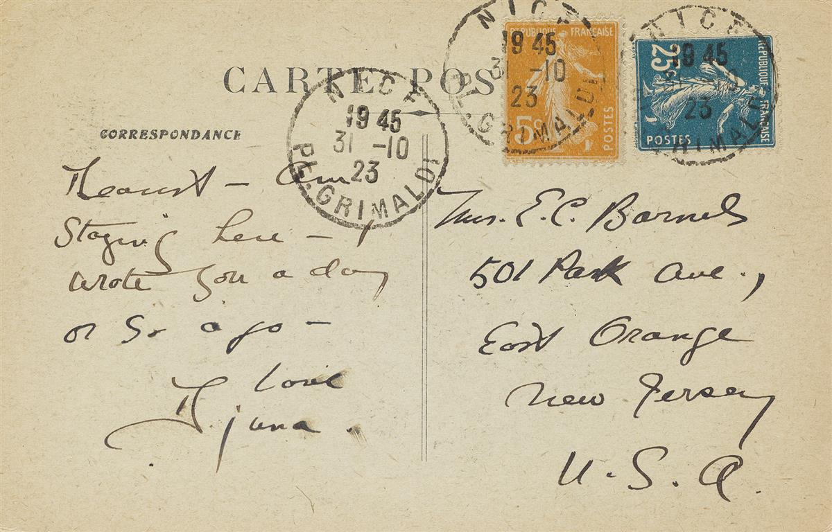 DJUNA BARNES (1892-1982)  Group of 5 Autograph Notes on postcards, including 4 Signed, Djuna or D, and one, to her mother or a frie