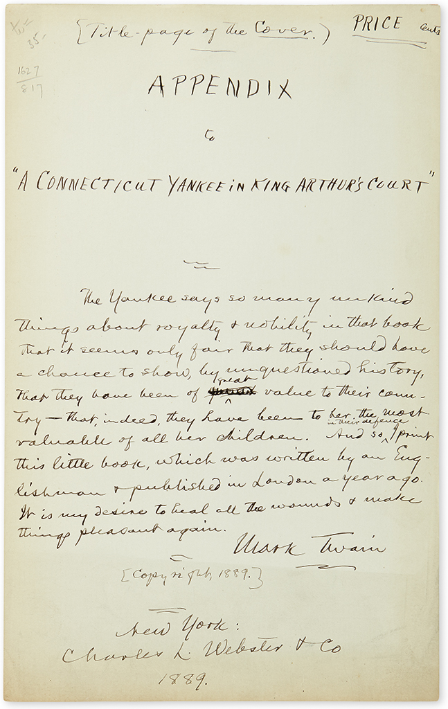 TWAIN, MARK. Autograph Manuscript Signed, draft of a title-page for Appendix to A Connecticut Yankee in King Arthurs Court,