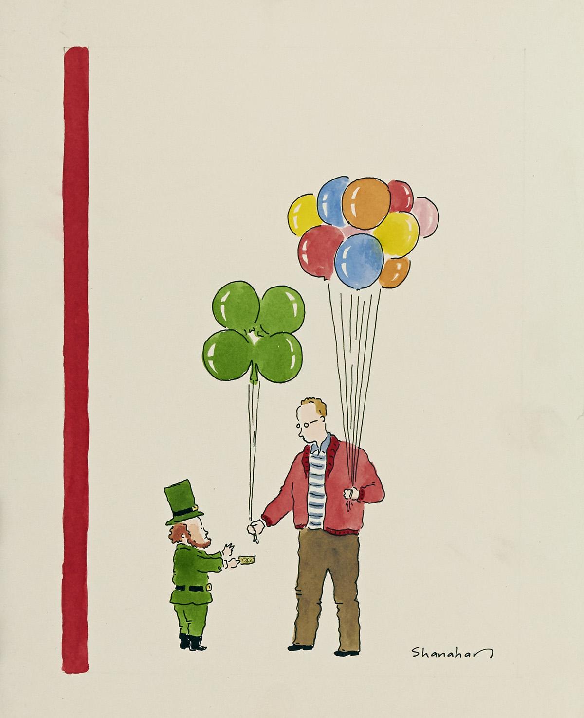 DANNY SHANAHAN. St. Paddys Balloons. [NEW YORKER / COVER ART / ST. PATRICKS DAY]