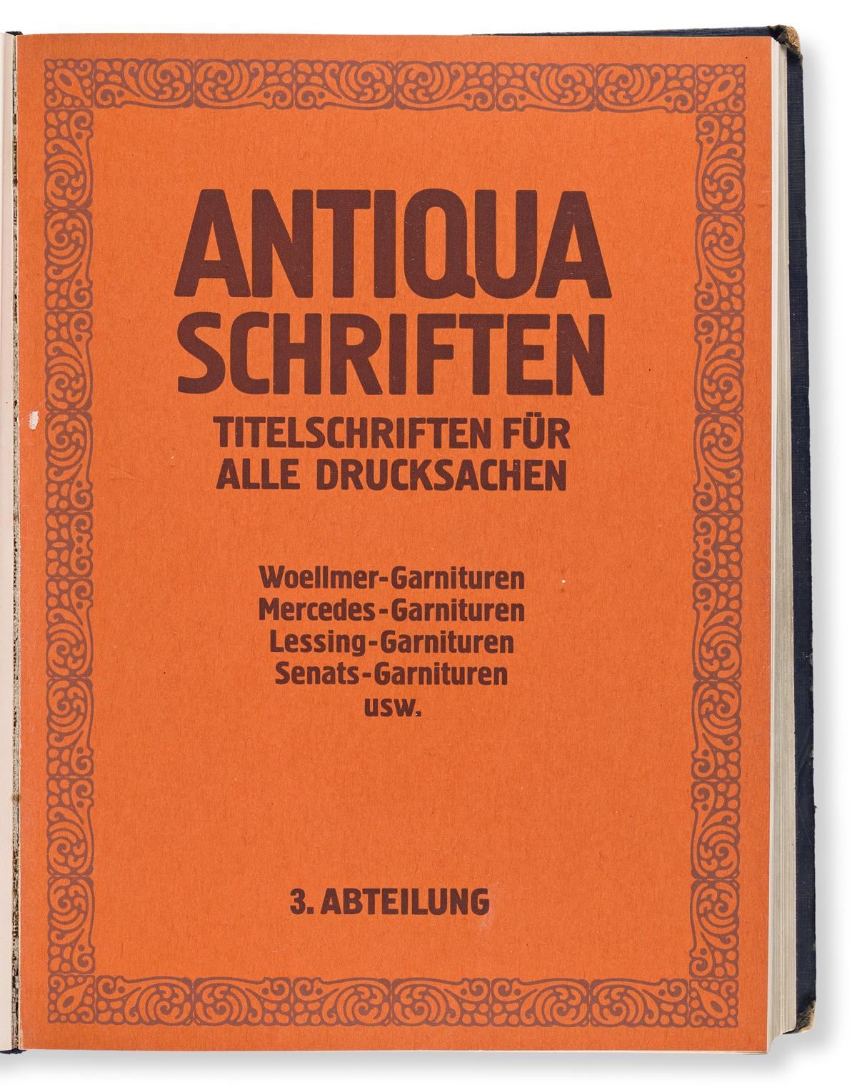 [SPECIMEN BOOK — WILHELM WOELLMER'S SCHRIFTGIESSEREI]. Wilhelm Woellmer's Schriftgiesserei Berlin SW Hauptprobe der Schrifgiesserei und