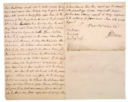 (AMERICAN INDIANS.) Moore, Henry, Sir. Autograph Letter Signed on Indian affairs.