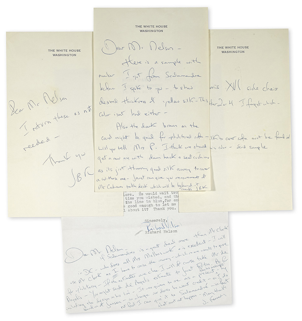 KENNEDY, JACQUELINE. Group of 8 items, each to Richard Nelson, assistant of Sister Parish, most concerning the Red Room: Typed Letter