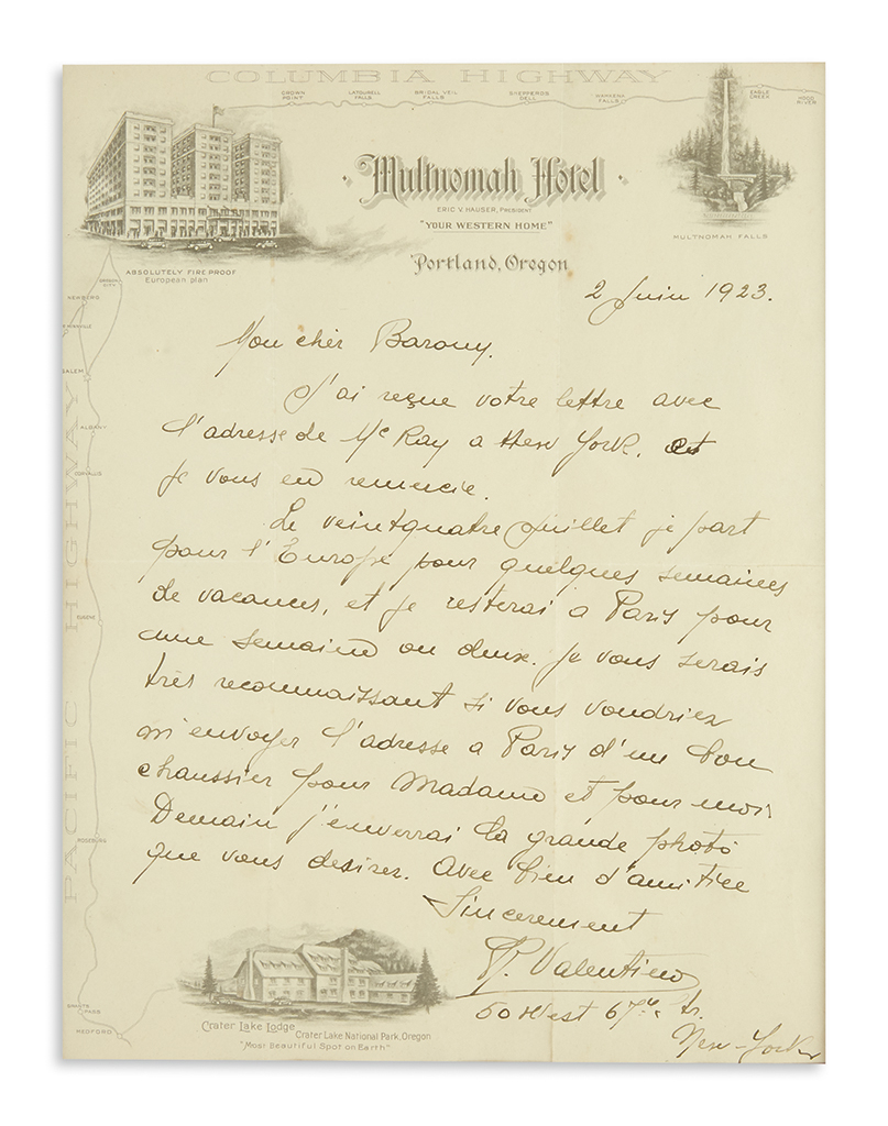 VALENTINO-RUDOLPH-Autograph-Letter-Signed-RValentino-to-My-d