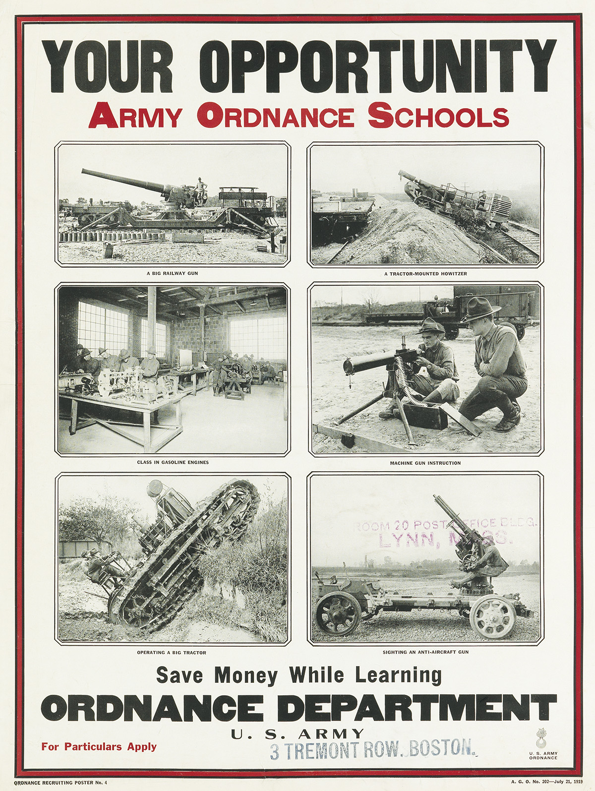 DESIGNER UNKNOWN. YOUR OPPORTUNITY / ARMY ORDNANCE SCHOOLS. 1919. 25x19 inches, 63x48 cm.