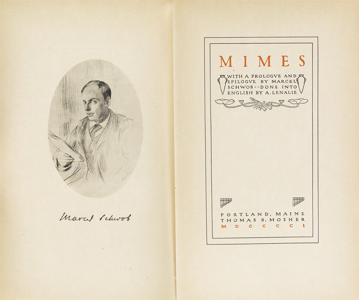 (MOSHER, THOMAS B. / PORTLAND, MAINE.) Schwob, Marcel. Mimes.