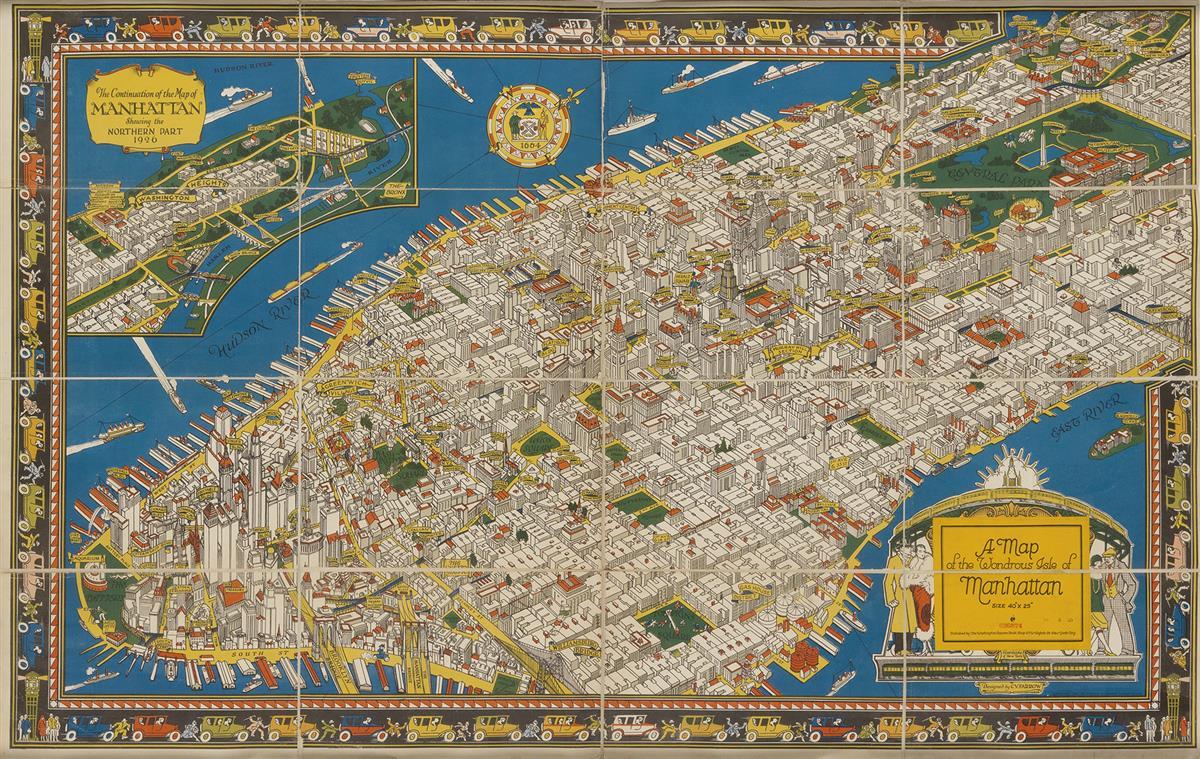 CHARLES VERNON FARROW (1896-1936). A MAP OF THE WONDROUS ISLE OF MANHATTAN. 1926. 25x39 inches, 63x99 cm. Washington Square Bookshop, N