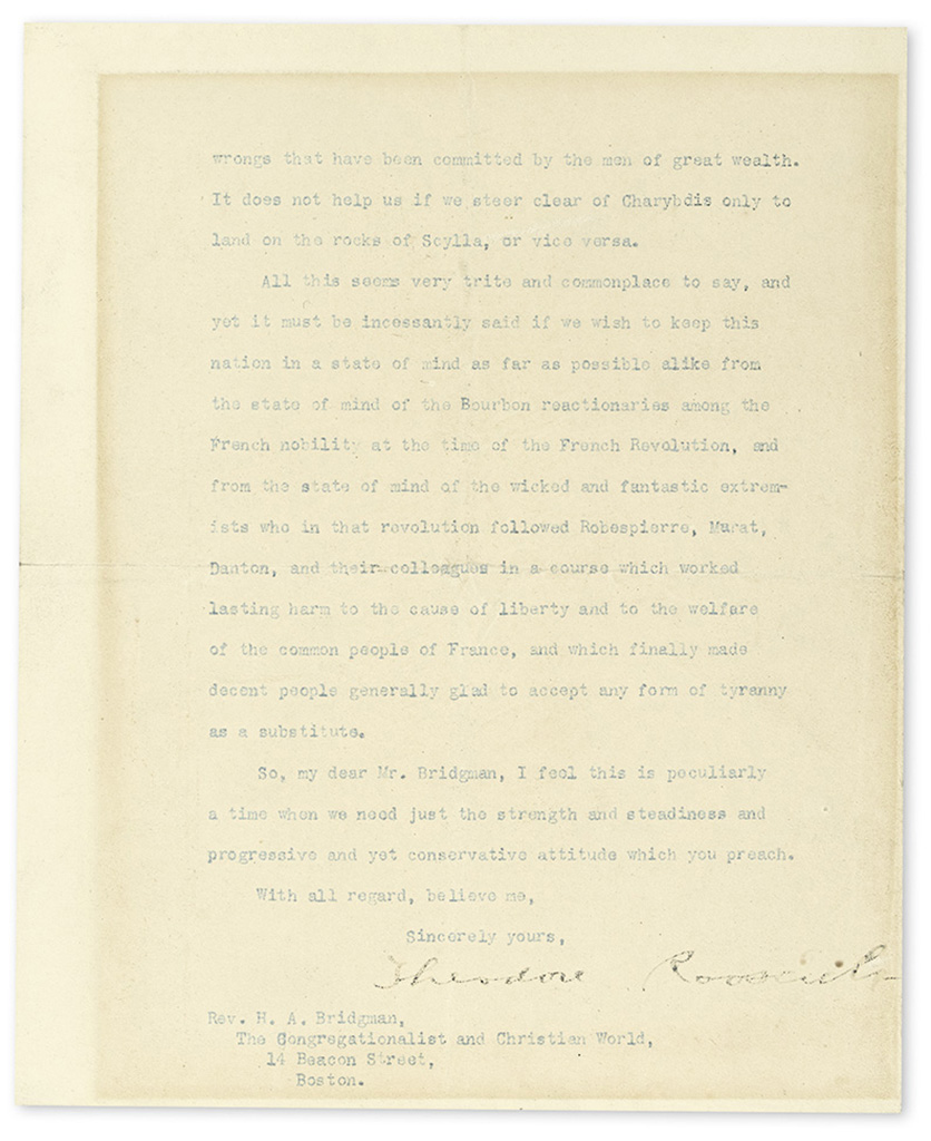 ROOSEVELT, THEODORE. Typed Letter Signed, as President, to Editor of The Congregationalist and Christian World Howard Allen Bridgeman,