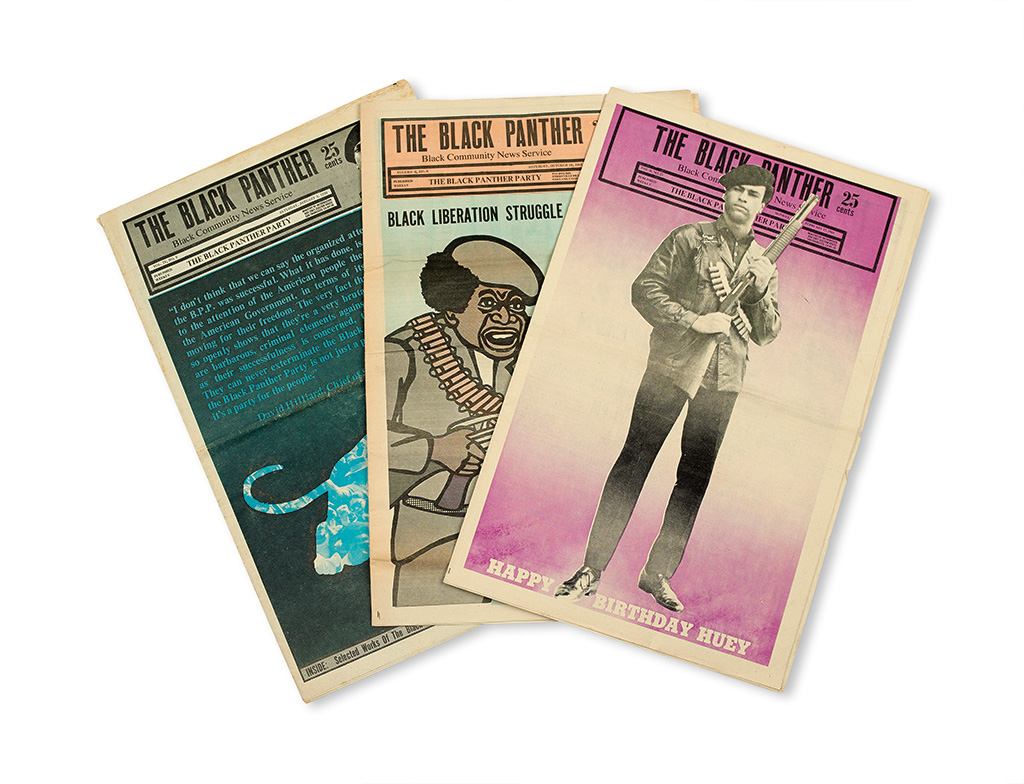 (BLACK PANTHERS.) NEWTON, HUEY, ELDRIDGE CLEAVER, ET AL. Group of 21 issues of the Black Panther, official organ of the Party.