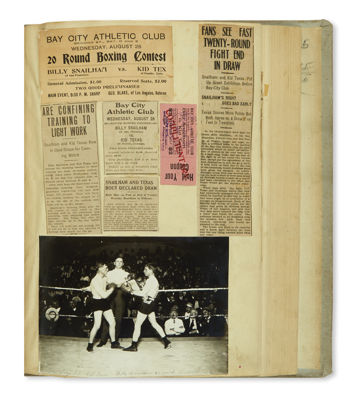 (SPORTS--BOXING.) Scrapbook kept by the early lightweight boxer Kid Texas.