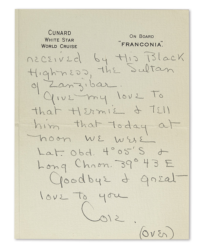 PORTER, COLE. Autograph Letter Signed, Cole, to Mrs. Hermann Oelrichs (Dumpy Darling),