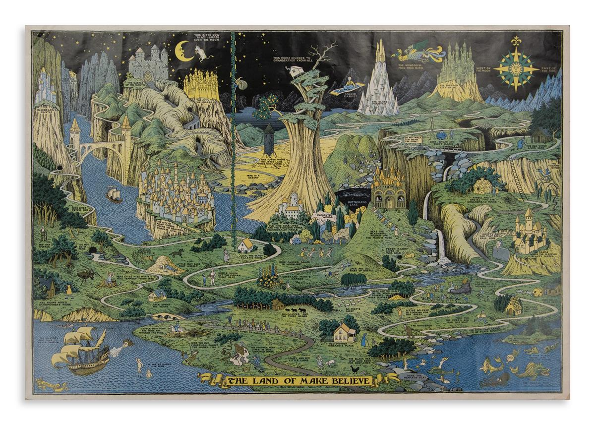 (PICTORIAL MAP.) Hess, Jaro. The Land of Make Believe.