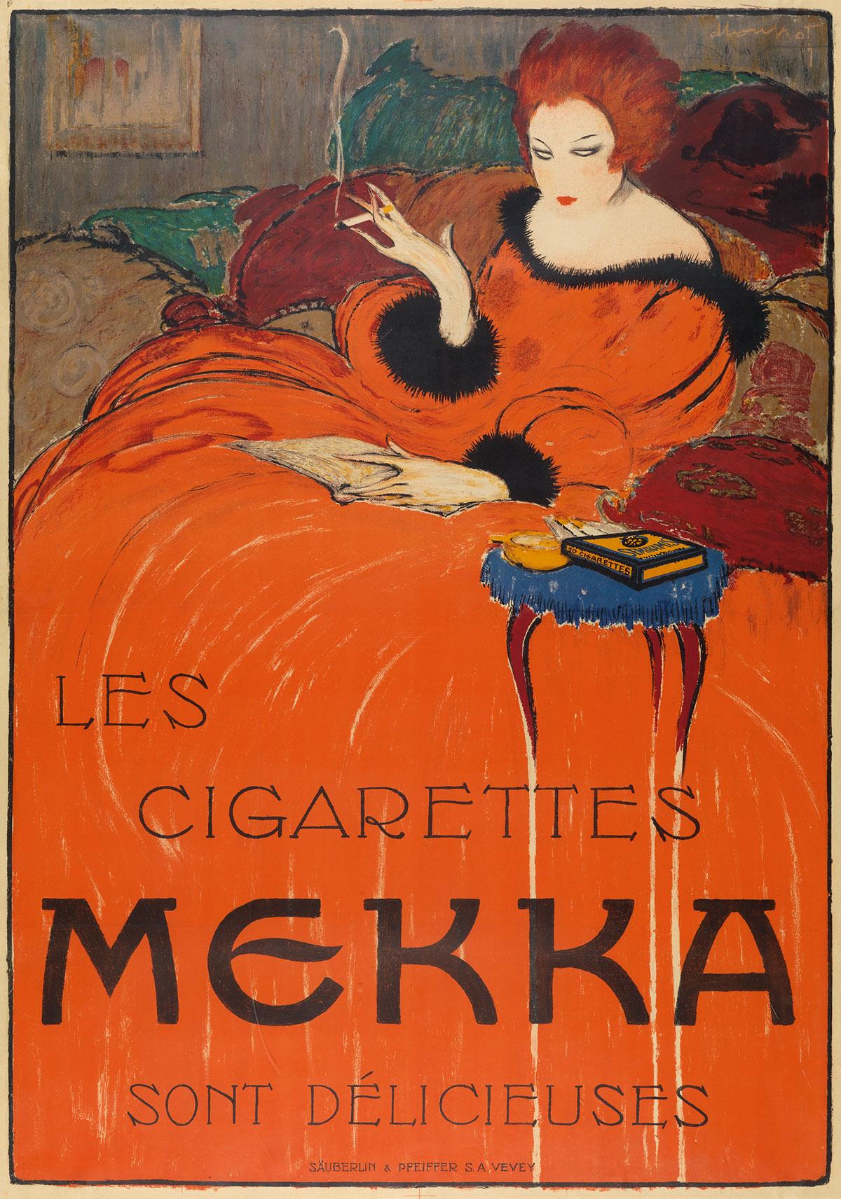 CHARLES LOUPOT (1892-1962). LES CIGARETTES MEKKA. 1919. 50x35 inches, 129x90 cm. Säuberlinn & Pfeiffer, Vevey.