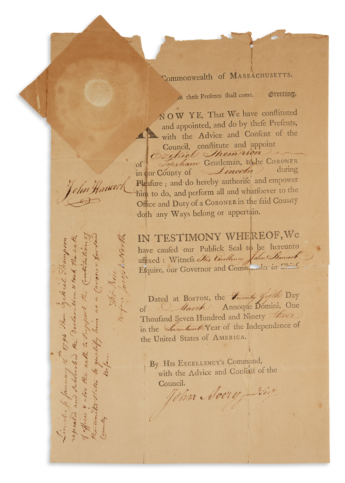 JOHN HANCOCK. Partly-printed Document Signed, as Governor, appointing a coroner for Lincoln County. Countersigne...
