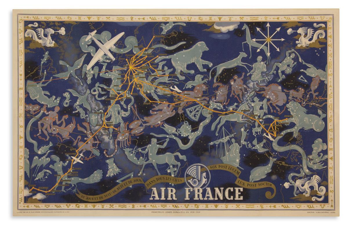 (PICTORIAL MAP.) Boucher, Lucien. Air France, de Jour et de Nuit, de Nuit et de Jour dans tous les Ciels.
