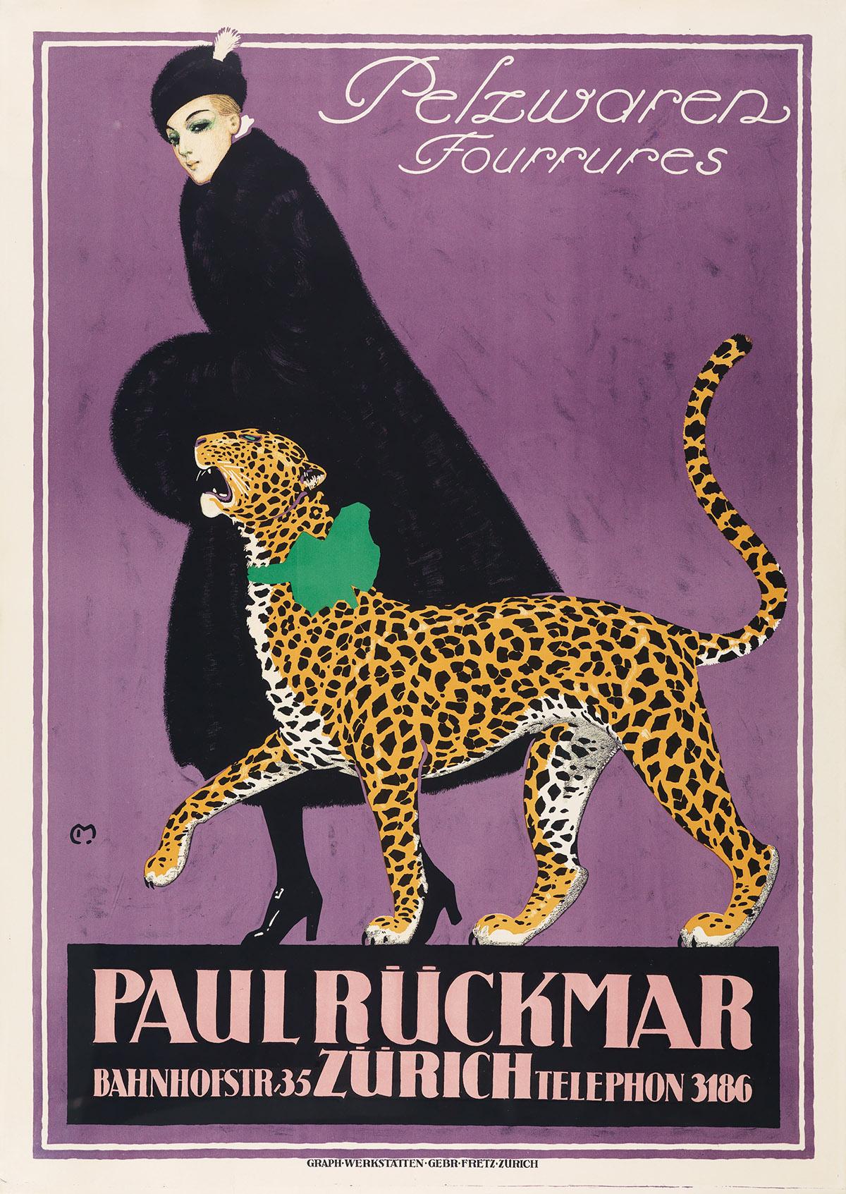 CARL FRANZ MOOS (1878-1959). PAUL RÜCKMAR / ZÜRICH. 1924. 50x35 inches, 127x90 cm. Gebr. Fretz, Zurich.