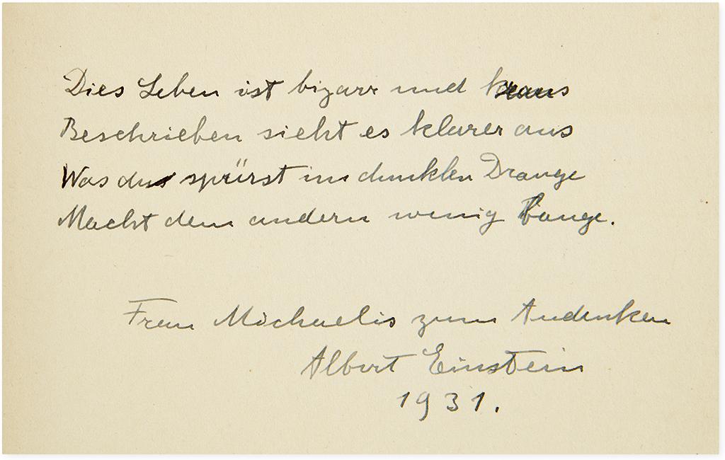 EINSTEIN, ALBERT. Anton Reiser. Albert Einstein: A Biographical Portrait. Signed and Inscribed, with a four-line poem, in German, to Mr