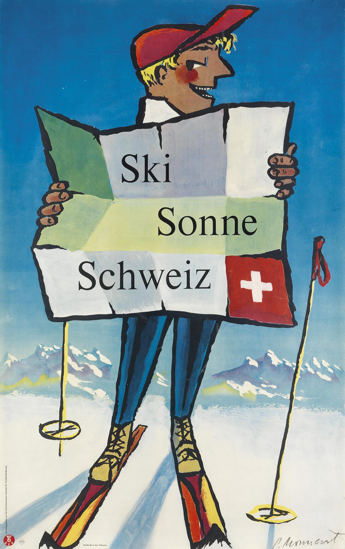 PIERRE-MONNERAT-(1917-)-SKI-SONNE-SCHWEIZ-1954-40x25-inches-