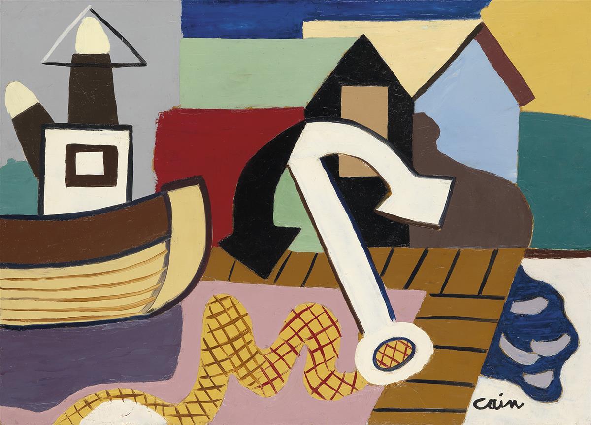 JOSEPH-LAMBERT-CAIN-Nautical-Composition-with-an-Anchor