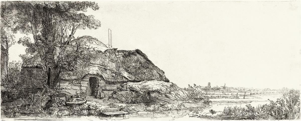 REMBRANDT-VAN-RIJN-Landscape-with-a-Cottage-and-a-Large-Tree