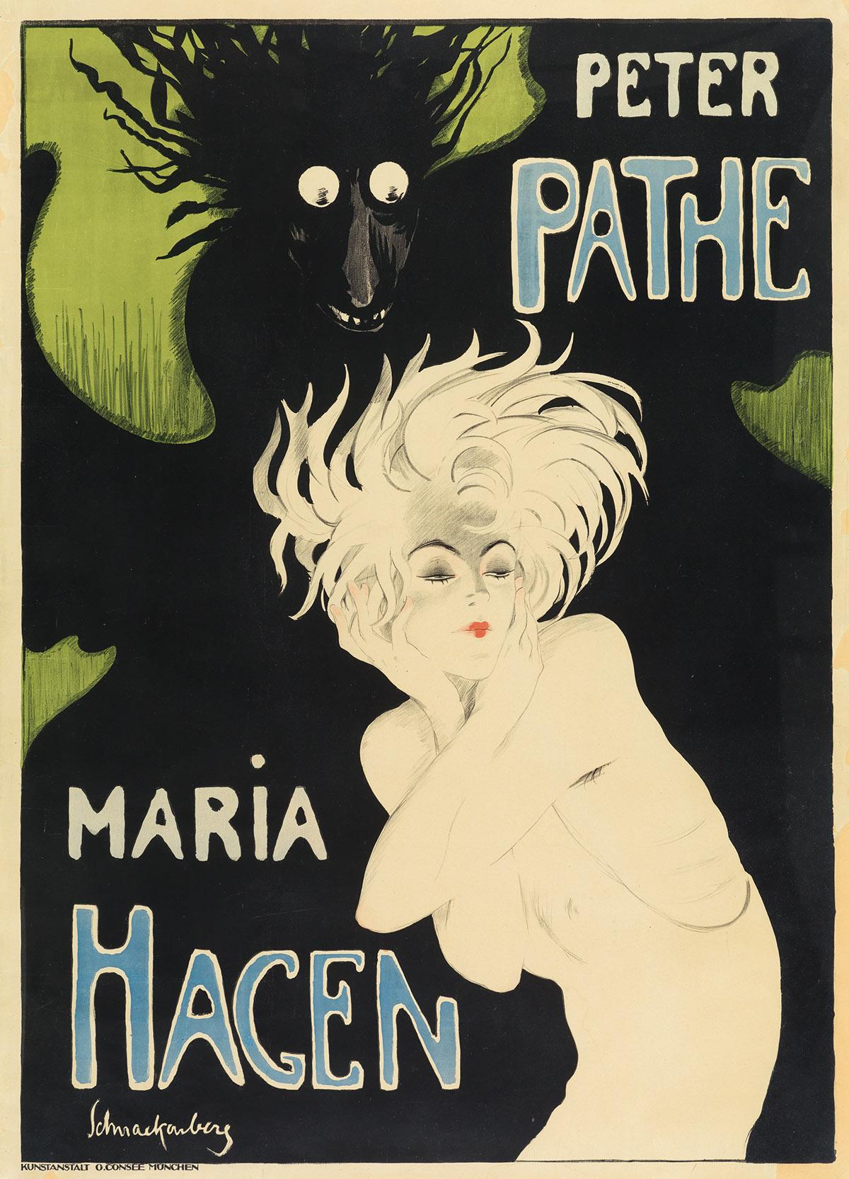 WALTER SCHNACKENBERG (1880-1961). PETER PATHE / MARIA HAGEN. Circa 1918. 48x35 inches, 122x89 cm. O. Consée, Munich.