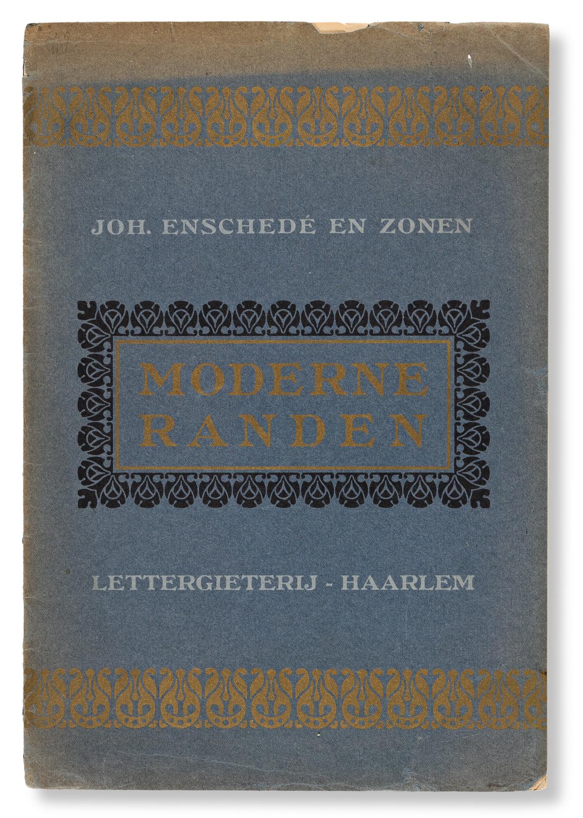 [SPECIMEN BOOK — K. VAN LEEUWEN]. Moderne Randen / Krachtige Silhouette-Ornamenten. Joh. Enschedé en Zonen, Haarlem. 1909.