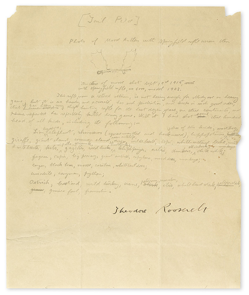 ROOSEVELT, THEODORE. Autograph Manuscript Signed, working draft of his statement evaluating his favorite hunting rifle,