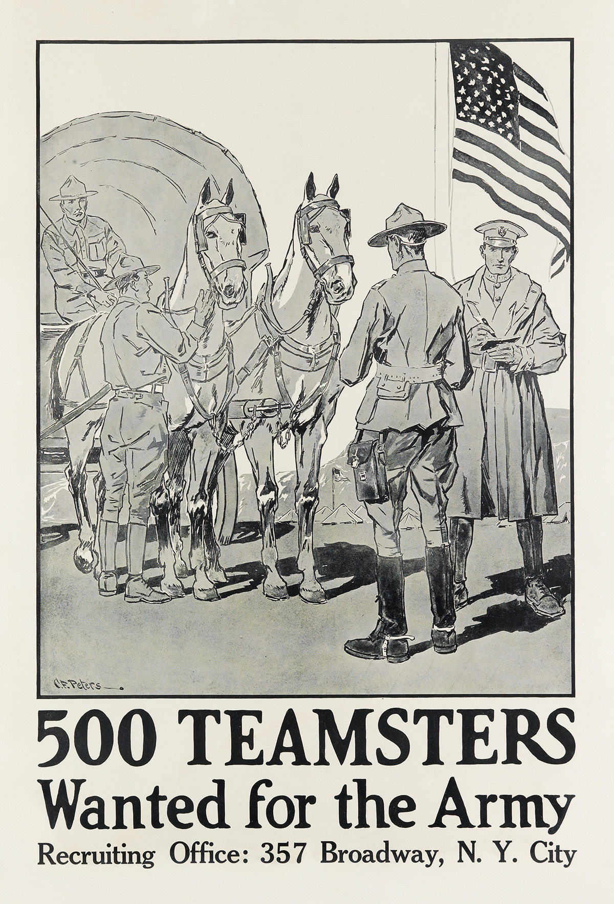 C.F. PETERS (DATES UNKNOWN). 500 TEAMSTERS WANTED FOR THE ARMY. 33x22 inches, 84x57 cm.
