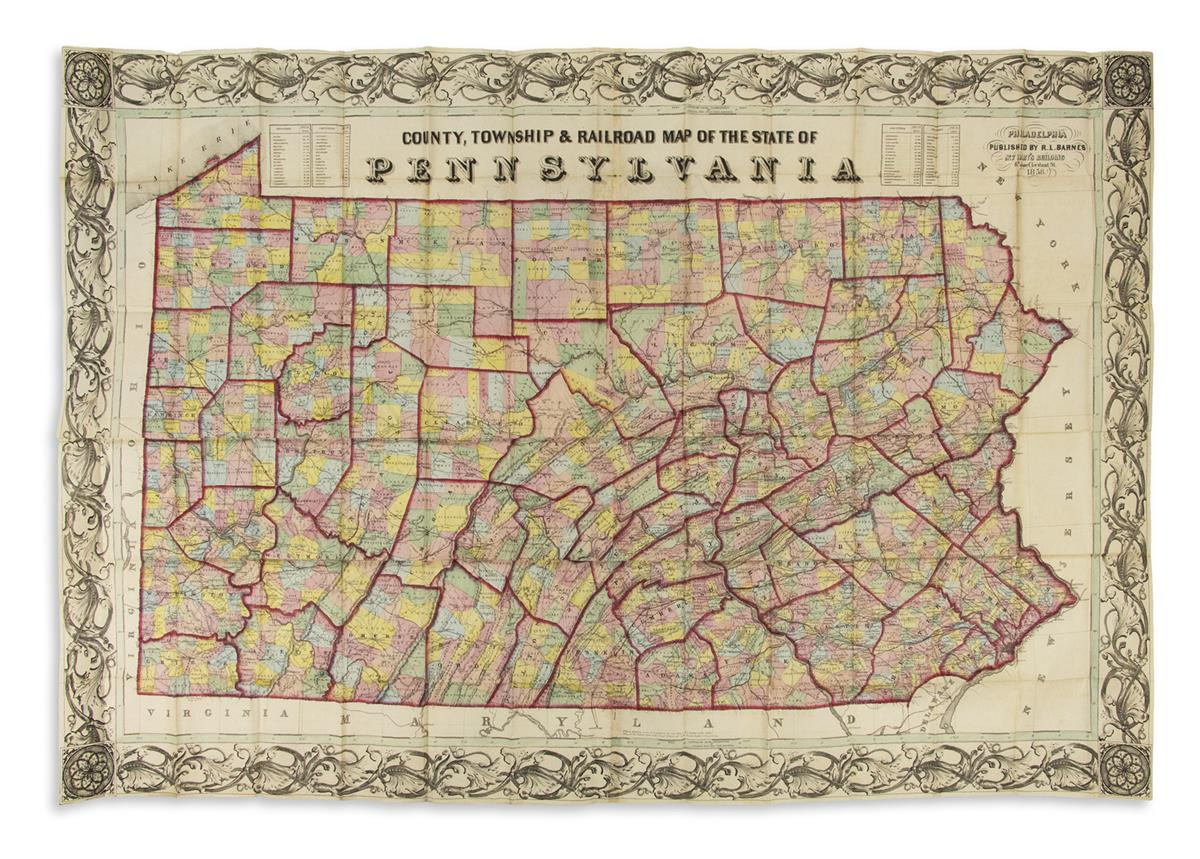 BARNES, RUFUS L. County, Township & Railroad Map of the State of Pennsylvania.