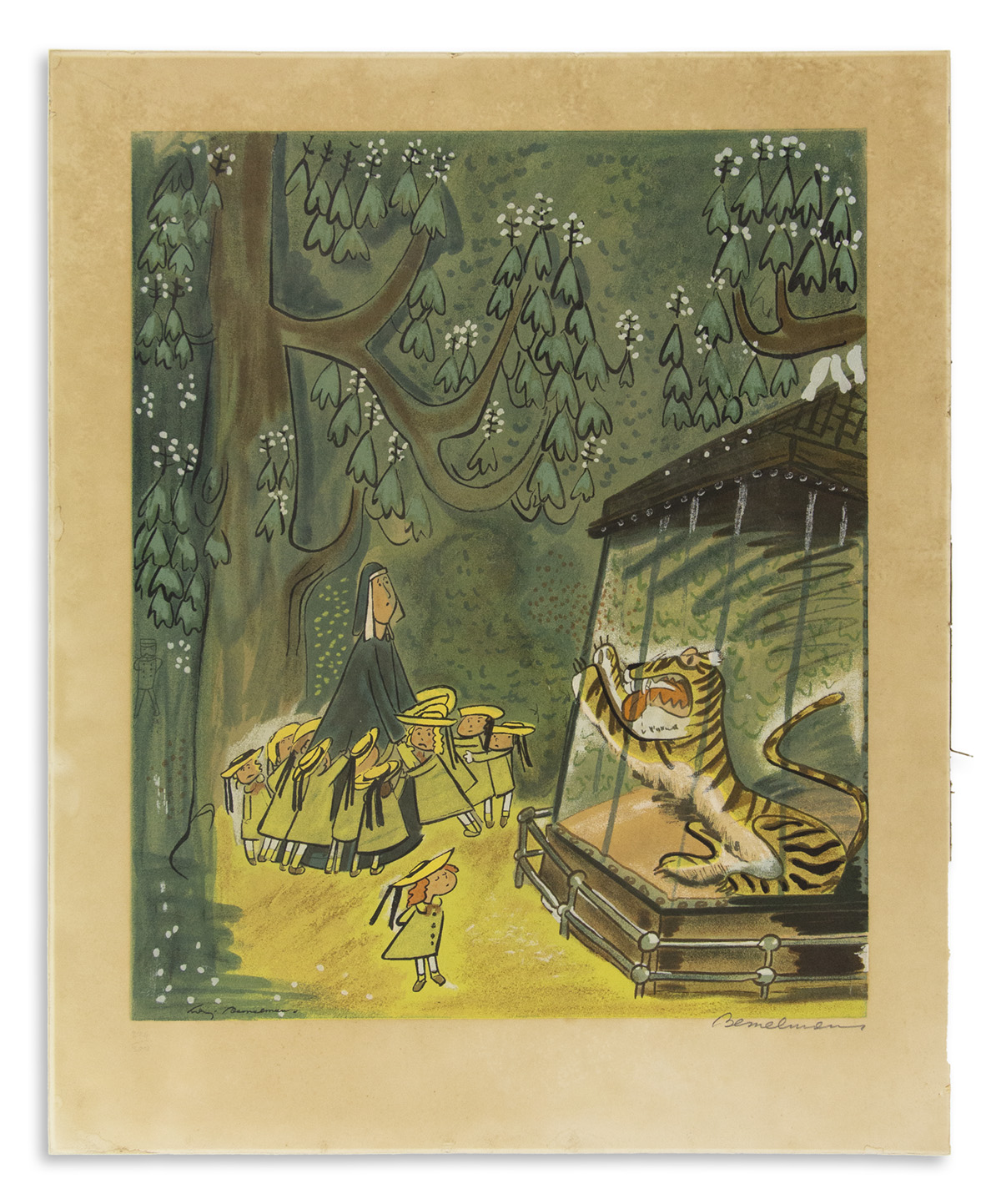BEMELMANS, LUDWIG. Lithograph entitled To the Tiger in the Zoo, Madeline just said Pooh, Pooh, Signed, Bemelmans, in pencil, lower