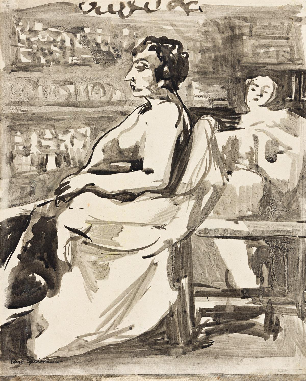 CARL SPRINCHORN (1887-1971) Three brush and ink and wash drawings.