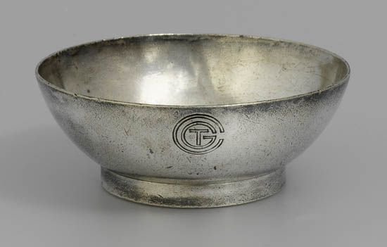(FRENCH LINE.) Normandie. Silver nut dish by Christofle,