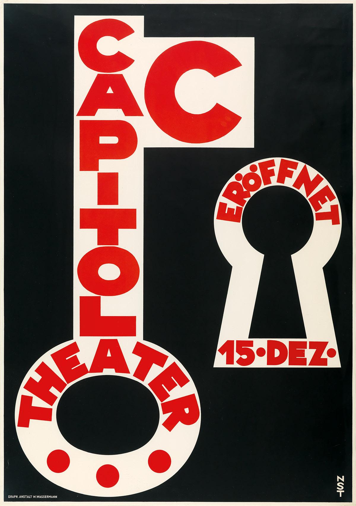 NIKLAUS STOECKLIN (1896-1982). CAPITOL THEATER. 1928. 50x35 inches, 127x89 cm. W. Wassermann, [Basel.]