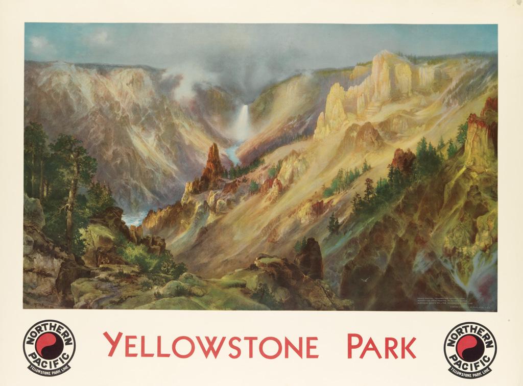 DAPRÈS THOMAS MORAN (1837-1926). YELLOWSTONE PARK / NORTHERN PACIFIC. 1924. 29x40 inches, 75x101 cm. Brown & Bigelow, St. Paul.