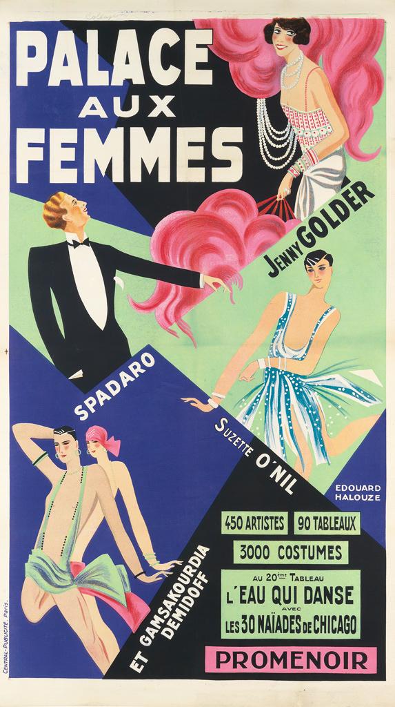 EDOUARD-HALOUZE-(DATES-UNKNOWN)-PALACE-AUX-FEMMES-Circa-1925-59x33-inches-151x85-cm-Central-Publicité-Paris