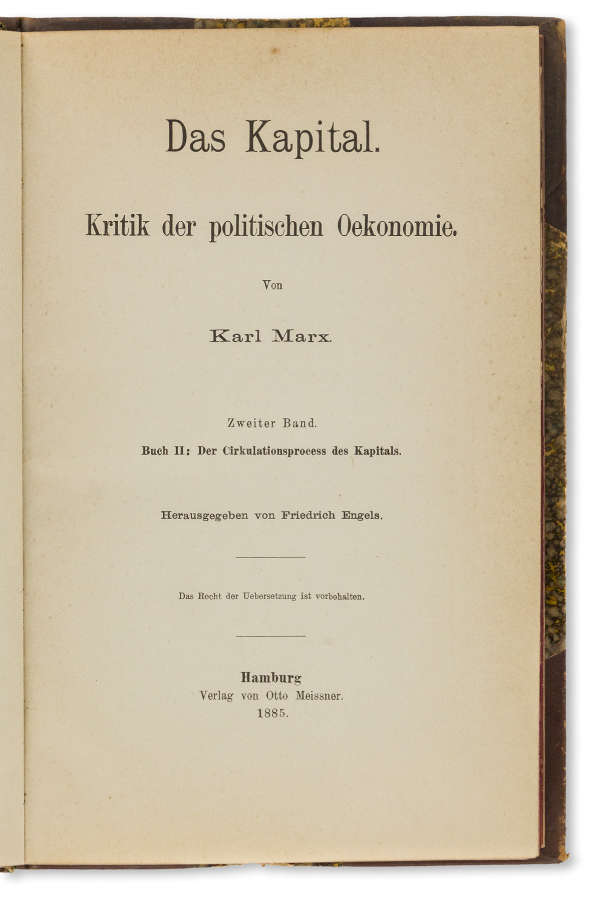 Marx, Karl (1818-1883); ed. Friedrich Engels (1820-1895) Das Kapital, Parts II & III.