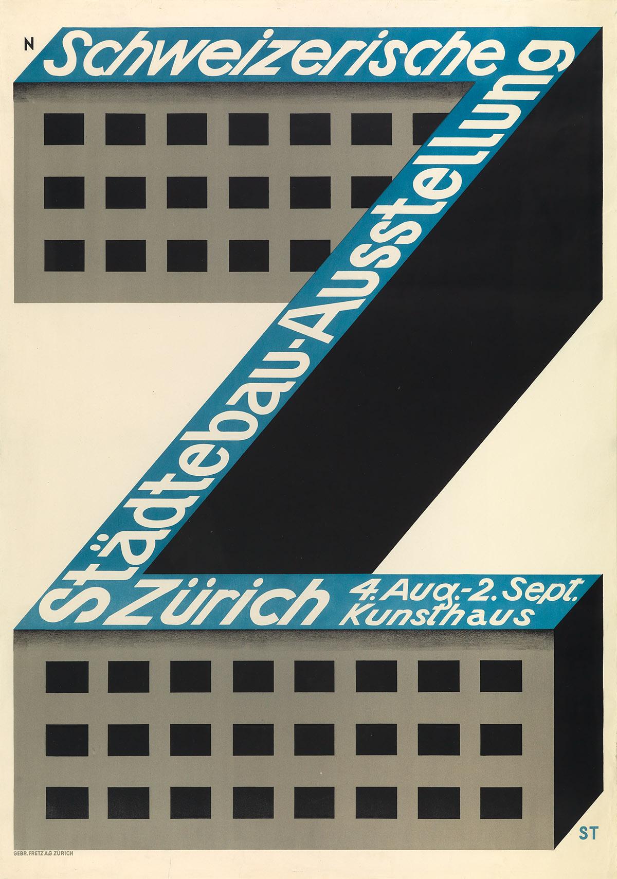 NIKLAUS STOECKLIN (1896-1982). SCHWEIZERISCHE STÄDTEBAU - AÜSSTELLUNG ZÜRICH. 1928. 50x35 inches, 128x90 cm. Gebr. Fretz, Zurich.