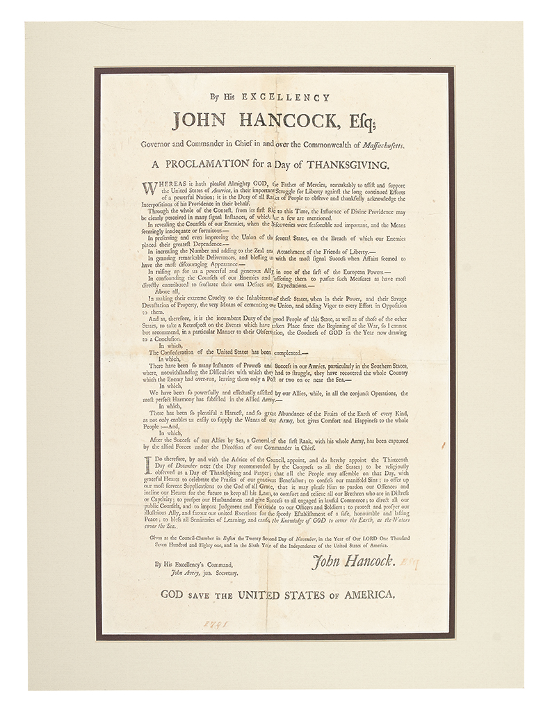 (AMERICAN REVOLUTION--1781.) Hancock, John. A Proclamation for a Day of Thanksgiving.