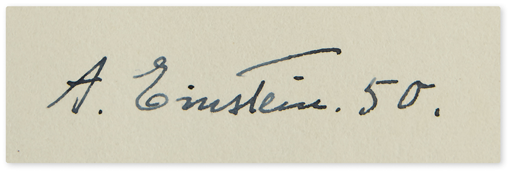 EINSTEIN, ALBERT. The Meaning of Relativity. Signed and dated on the front free endpaper, A. Einstein. 50.