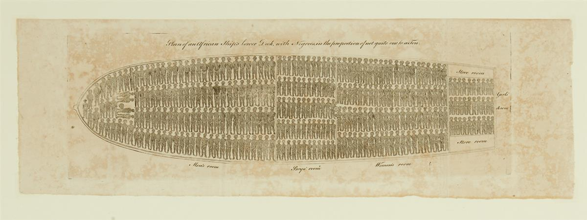 (SLAVERY AND ABOLITION.) Plan of an African Ships Lower Deck, with Negroes in the Proportion of Not Quite One to a Ton.