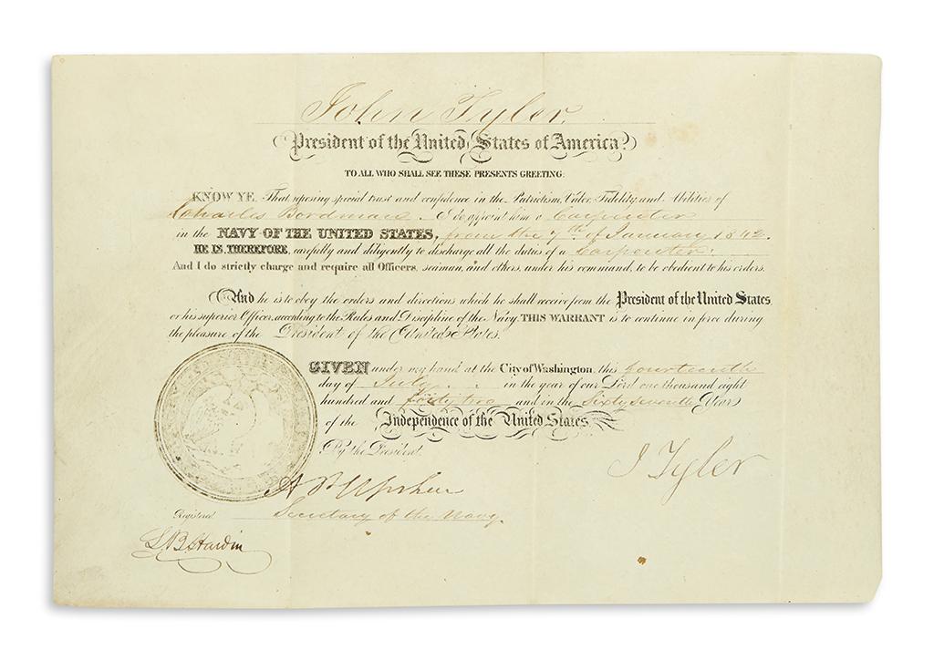 TYLER-JOHN-Partly-printed-vellum-Document-Signed-J-Tyler-as-