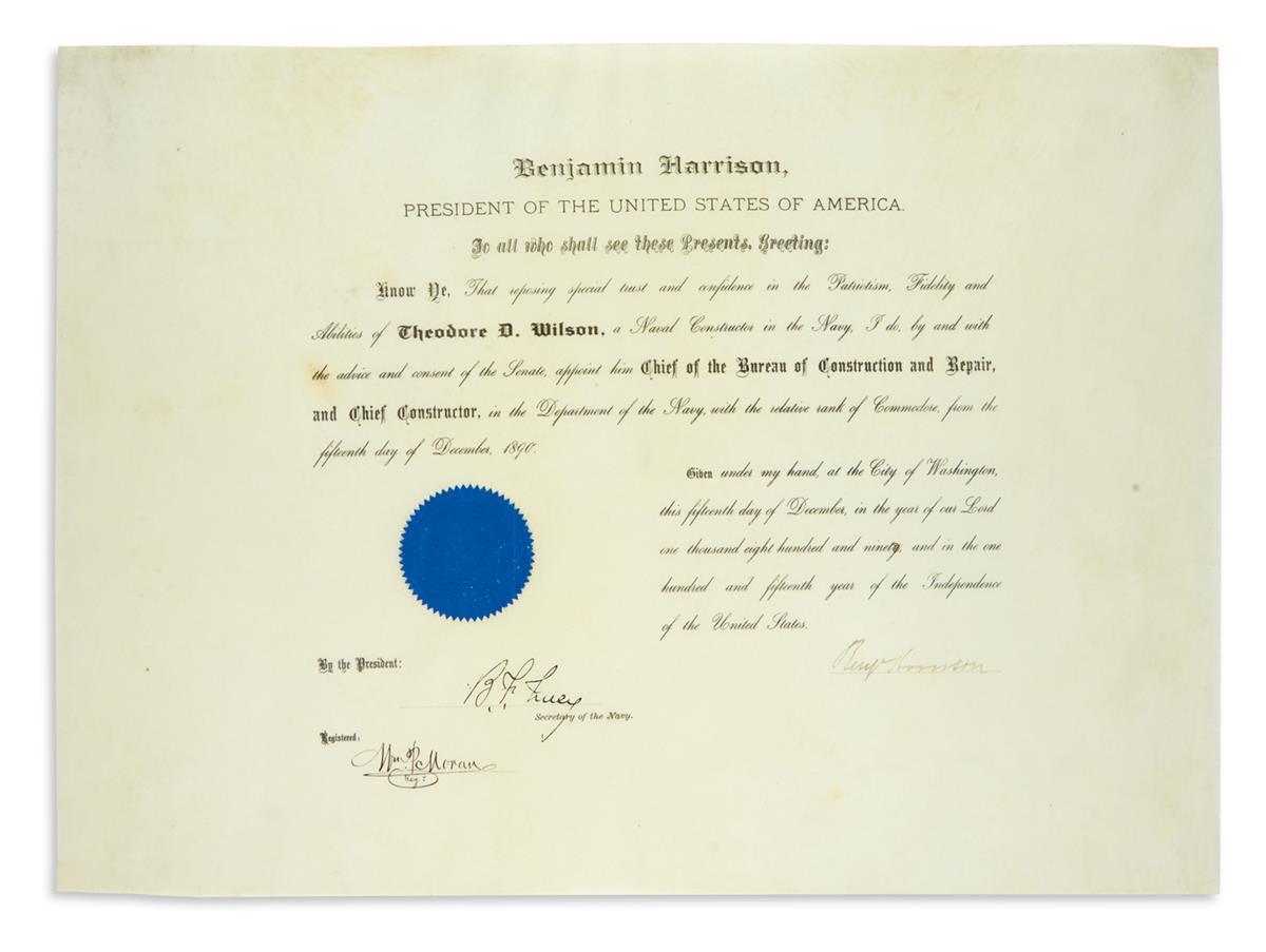 BENJAMIN-HARRISON-Partly-printed-vellum-Document-Signed-Benj