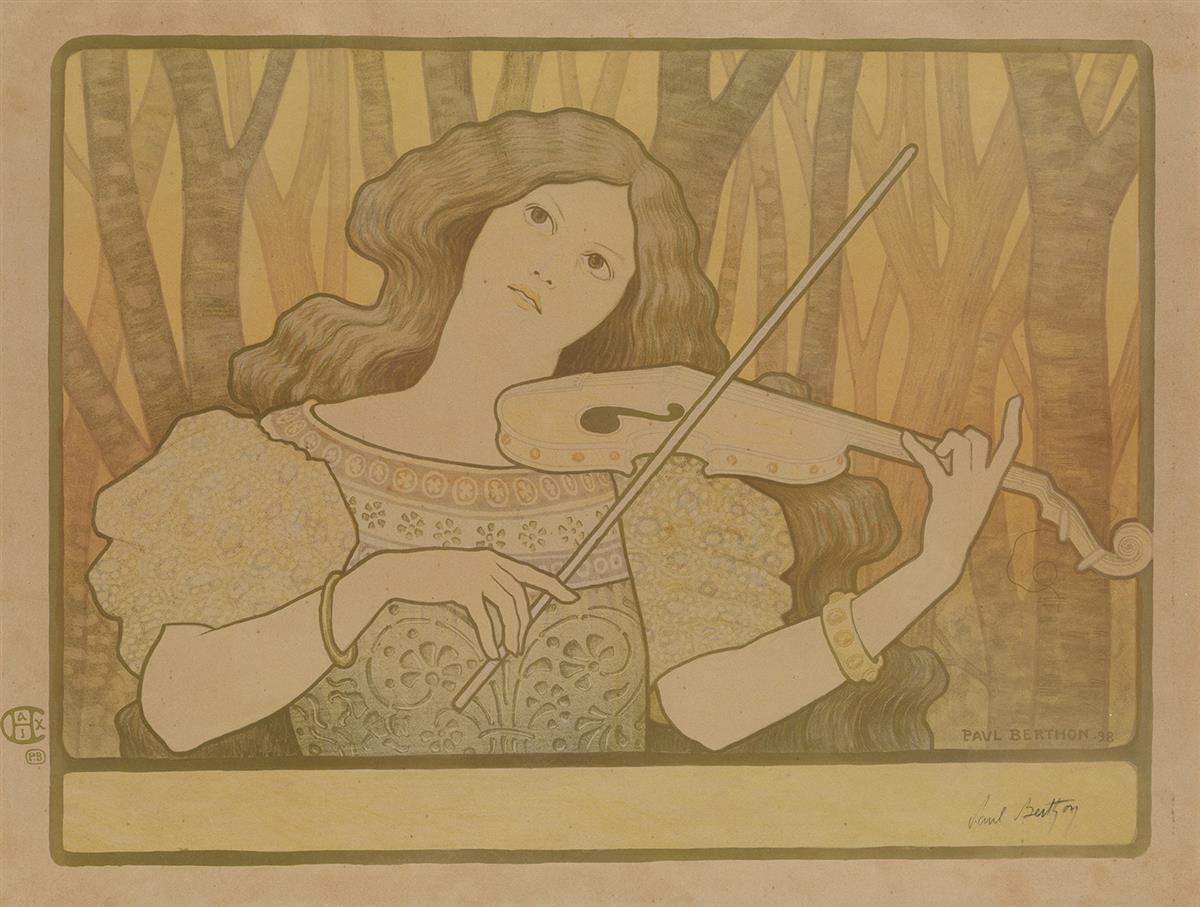 PAUL BERTHON (1872-1909). [LECONS DE VIOLON.] 1898. 18x23 inches, 45x59 cm. Chaix, Paris.