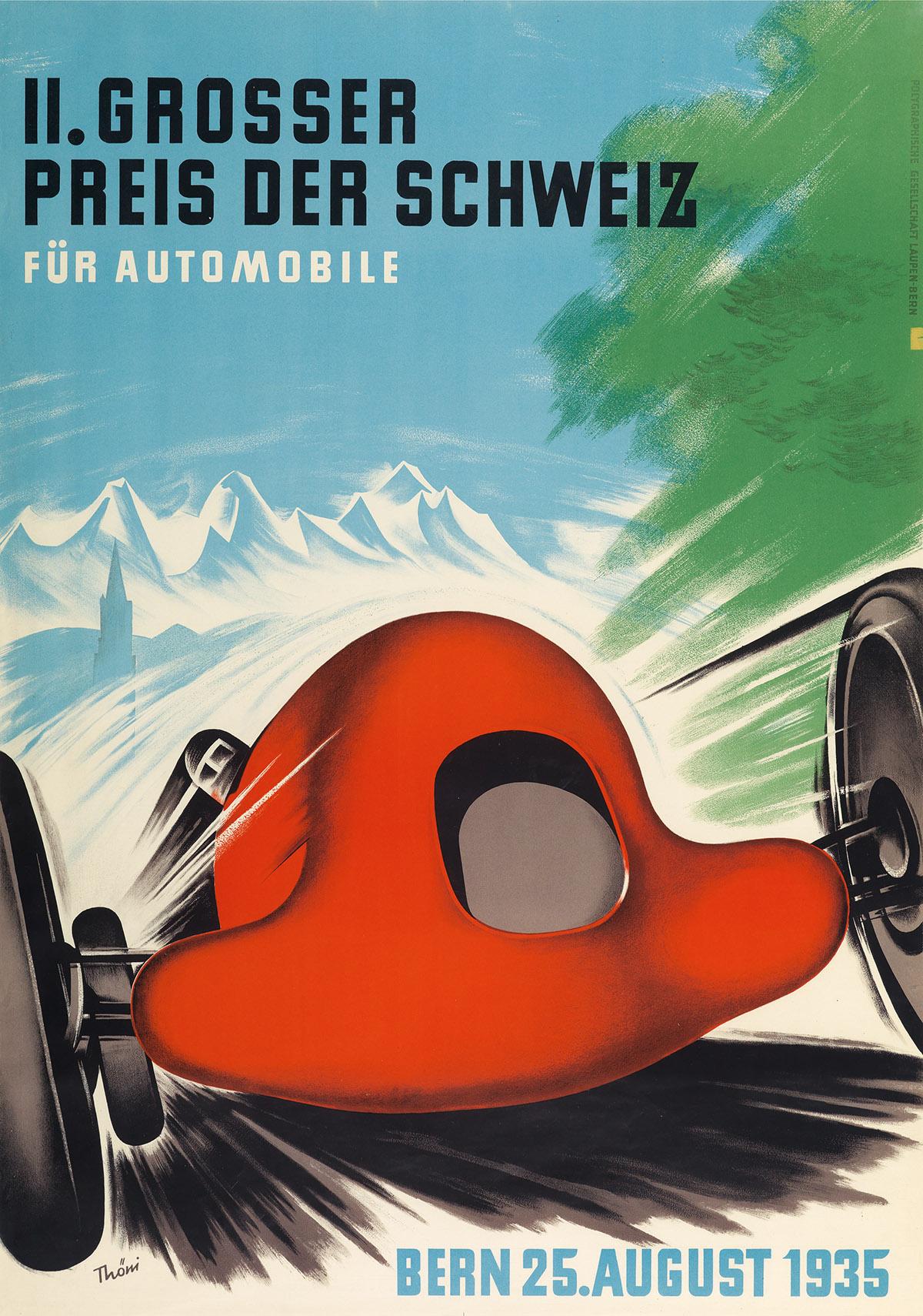 HANS THÖNI (1906-1980). II. GROSSER PREIS DER SCHWEIZ / FÜR AUTOMOBILE. 1935. 39x27 inches, 99x69 cm. Polygraphische Gesellschaft Laupe