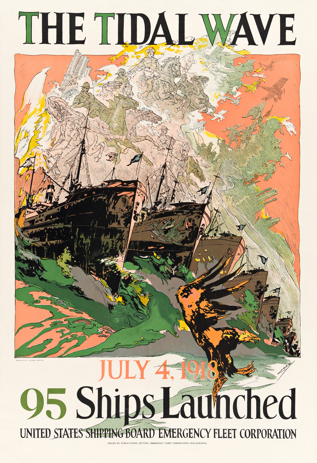 JOSEPH CLEMENT COLL (1881-1921).  THE TIDAL WAVE / 95 SHIPS LAUNCHED. 1918. 30x20¼ inches, 76¼51½ cm. Thomsen-Ellis Co., Baltimore.