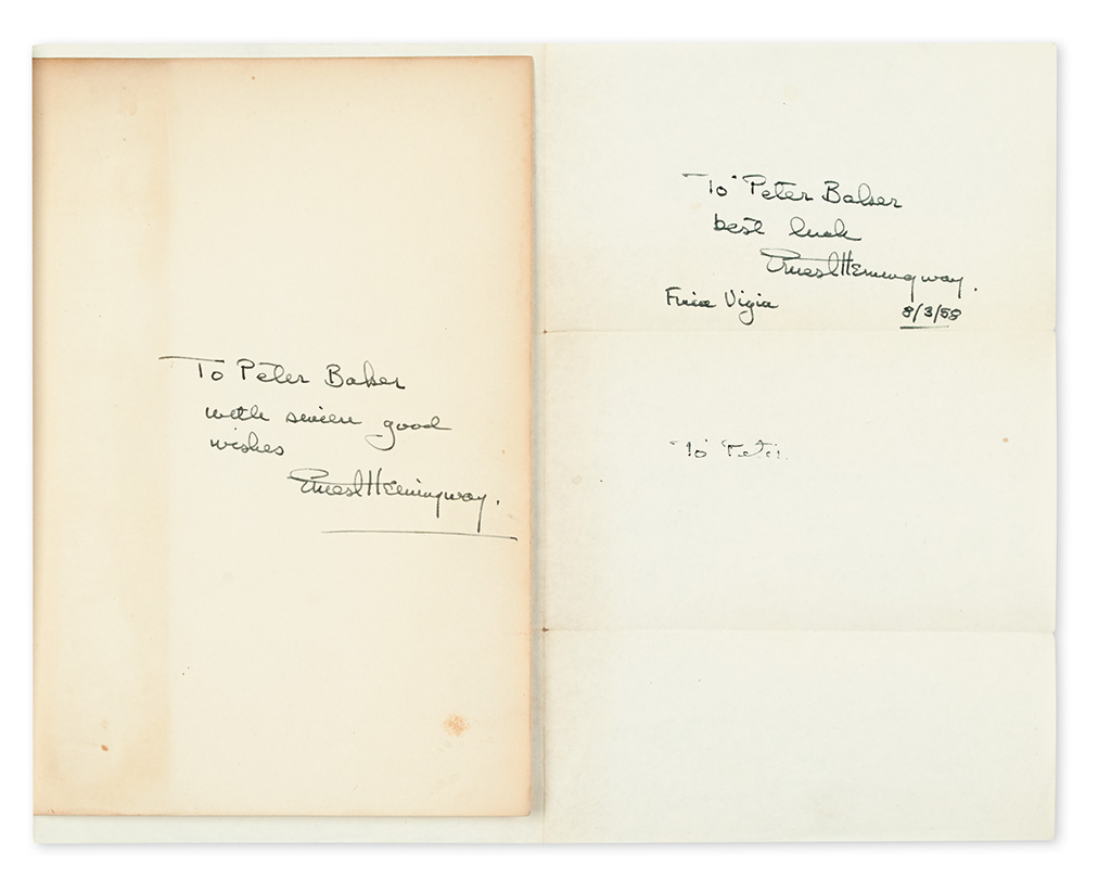 HEMINGWAY, ERNEST. Two items: The Old Man and the Sea. Signed and Inscribed * Autograph Note Signed. Each to journalist Peter Baker.