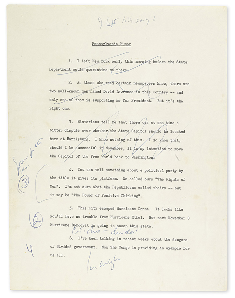 KENNEDY, JOHN F. Typed list of jokes for use in Pennsylvania speeches during 1960 campaign, unsigned, with several holograph notes and